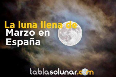Luna llena de Marzo de 2021 en España