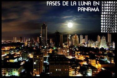 Skyline de Ciudad de Panamá con la luna de Fondo. Calendario Lunar de Panamá