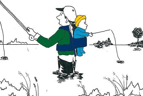 Humor de Pesca Mayo 2021. Niño pescando con Padre.