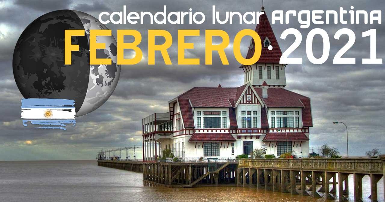 Calendario lunar febrero de 2021 en Argentina