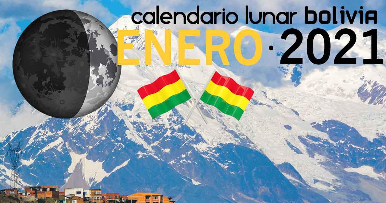 Calendario lunar enero de 2021 en Bolivia