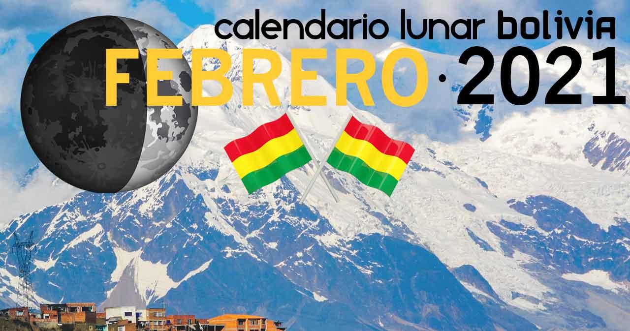 Calendario lunar febrero de 2021 en Bolivia