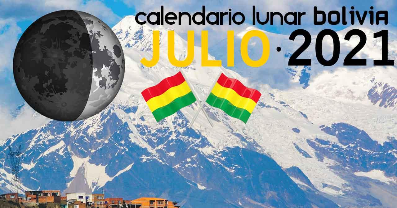 Calendario lunar julio de 2021 en Bolivia