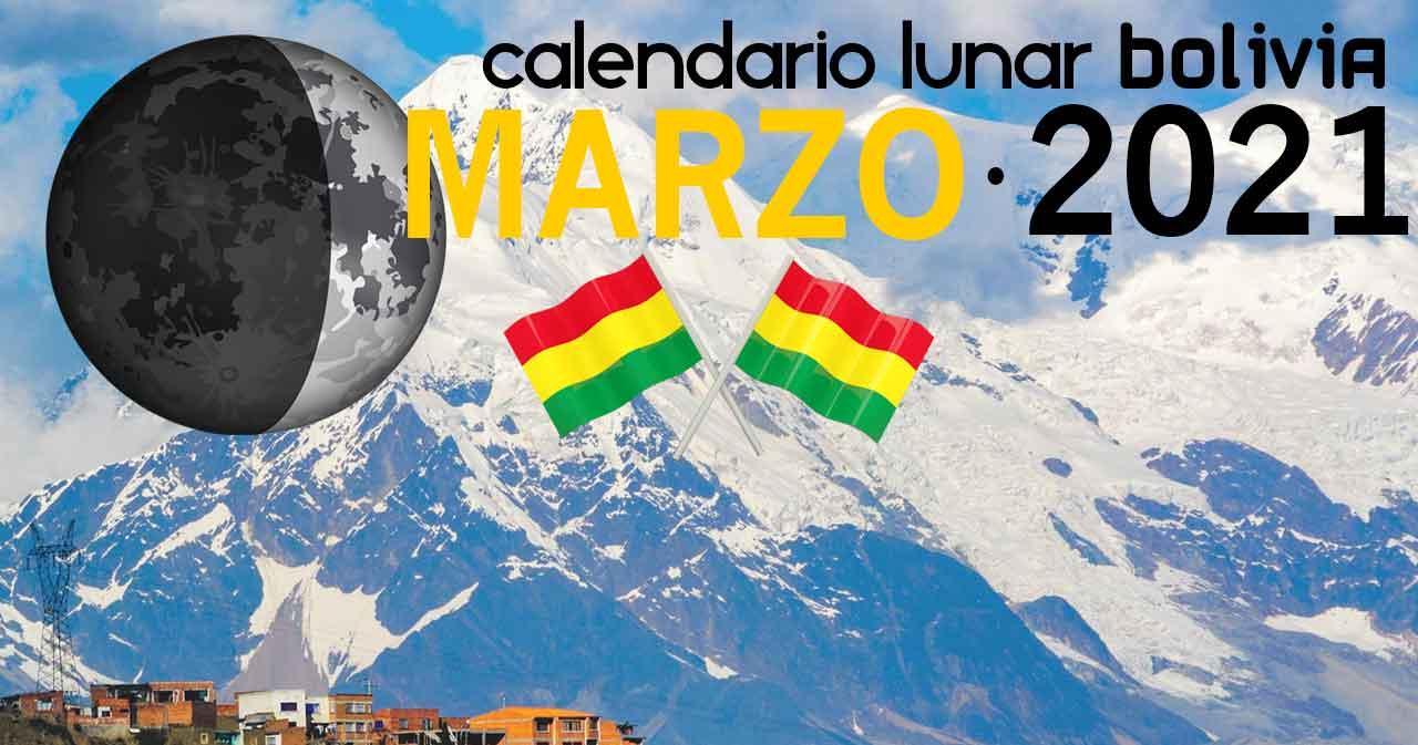 Calendario lunar marzo de 2021 en Bolivia