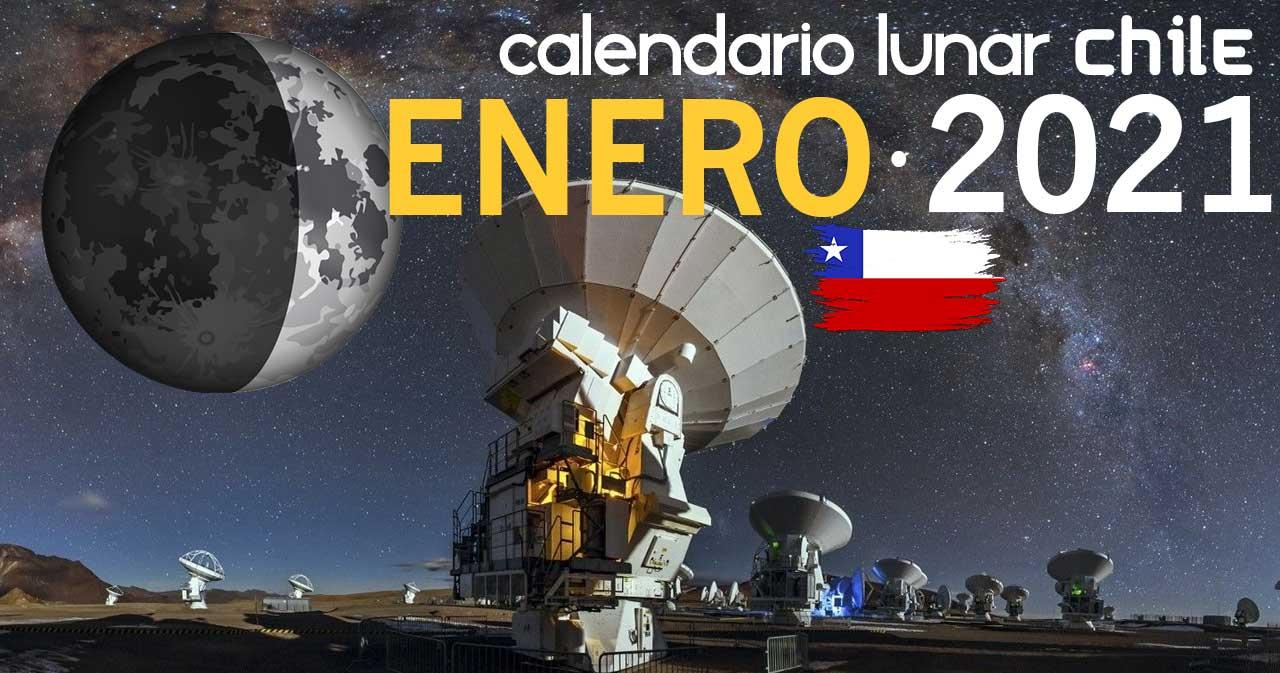 Calendario lunar enero de 2021 en Chile