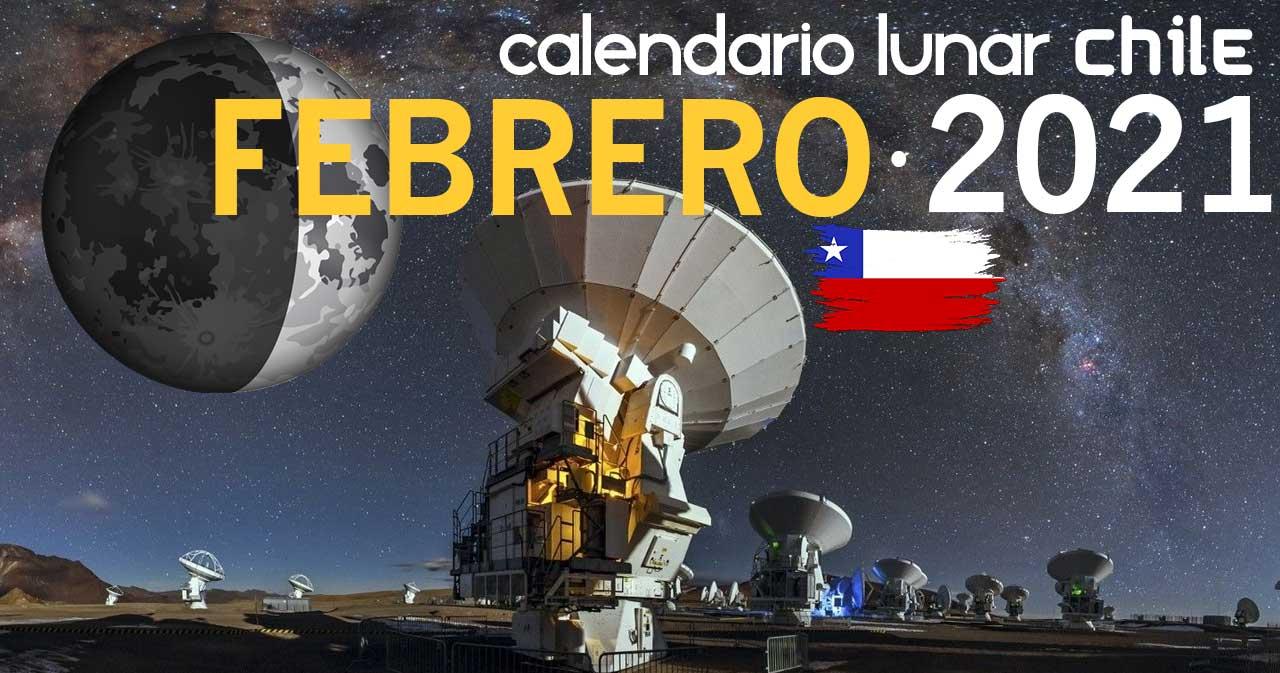 Calendario lunar febrero de 2021 en Chile