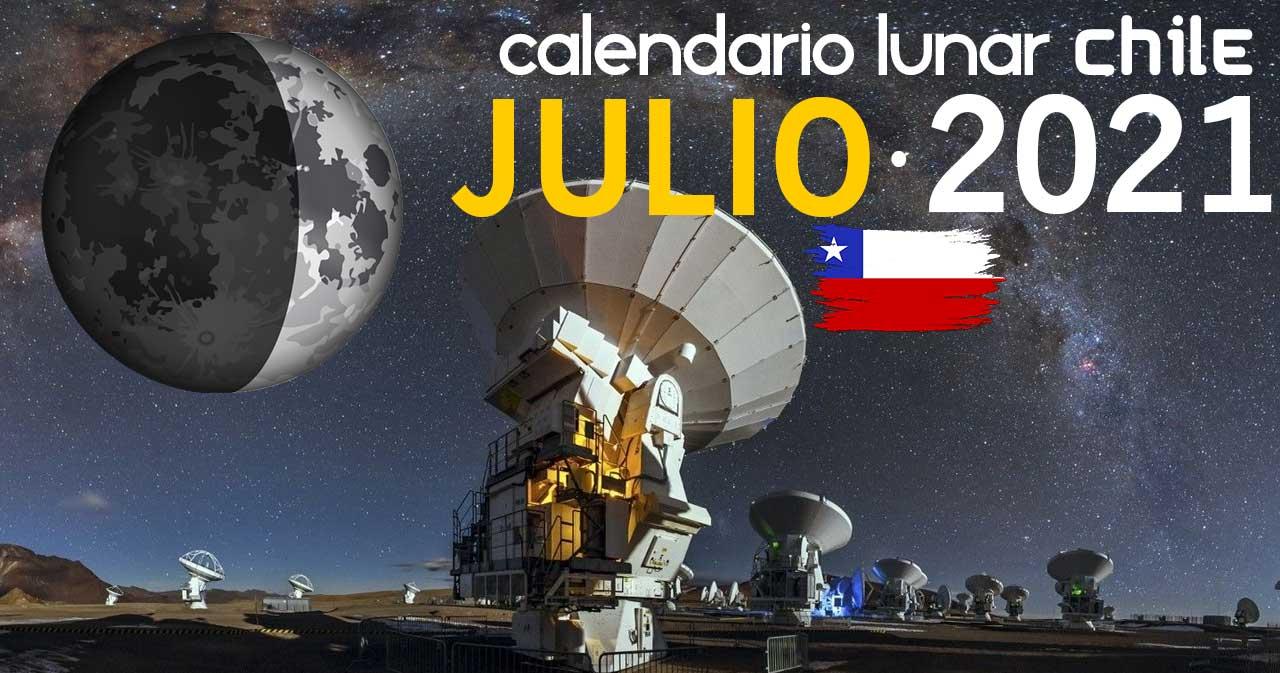 Calendario lunar julio de 2020 en Chile