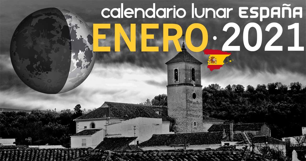 Calendario lunar enero de 2021 en España