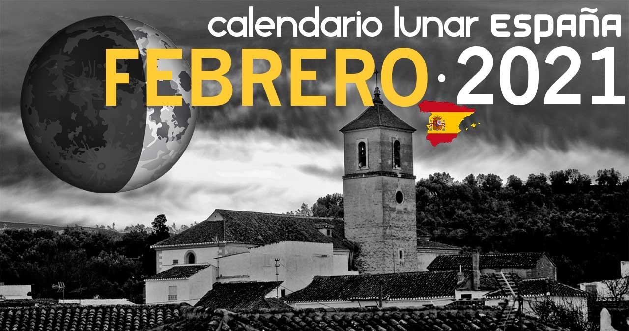 Calendario lunar febrero de 2021 en España
