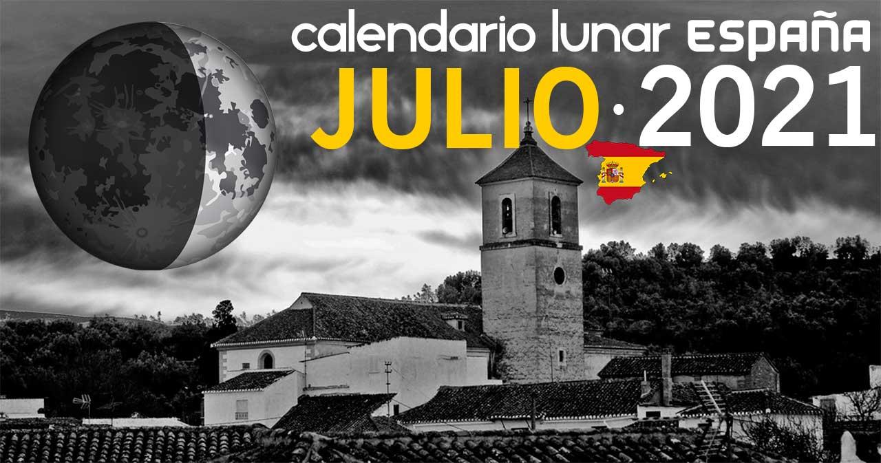 Calendario lunar julio de 2021 en España