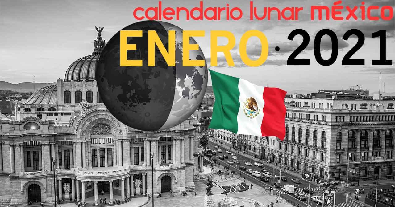 Calendario lunar enero de 2021 en México