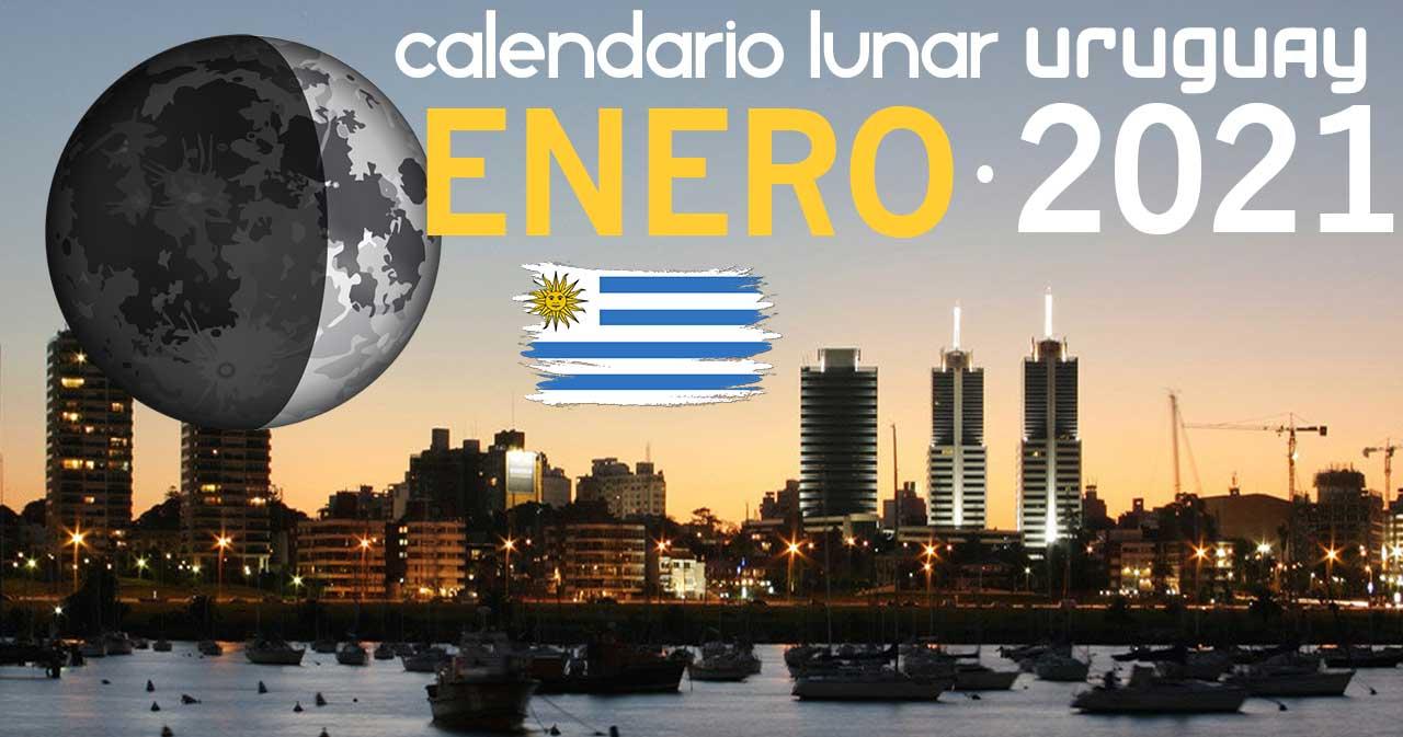 Calendario lunar enero de 2021 en Uruguay