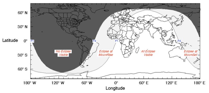 zonas de Visibilidad del Eclipse